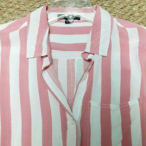 Velvet Heart Women's Shirt Large Pink White Stripe